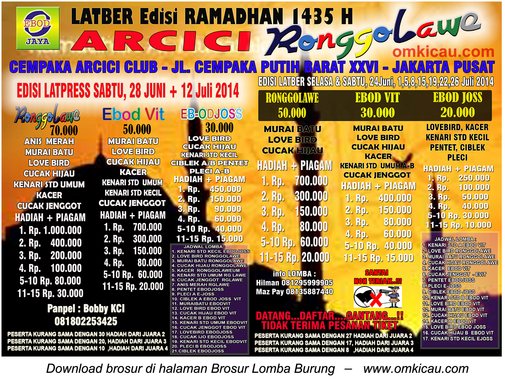 Brosur Latpres Arcici Ronggolawe Edisi Ramadhan, Jakarta Pusat, 28 Juni 2014