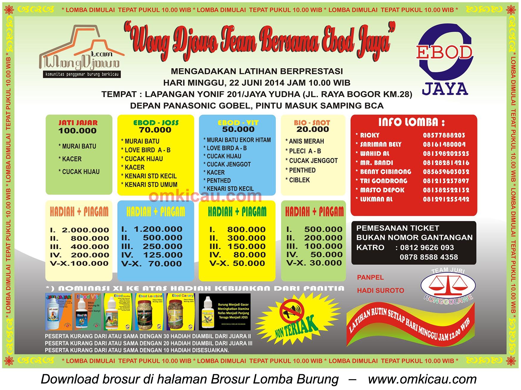 Brosur Latpres Wong Djowo Team, Jakarta Timur, 22 Juni 2014