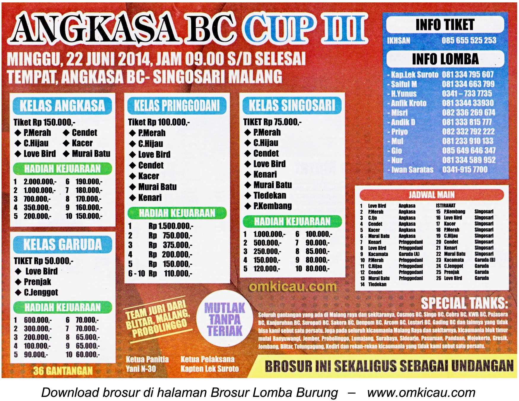 Brosur Lomba Burung Berkicau Angkasa BC Cup III, Malang, 22 Juni 2014