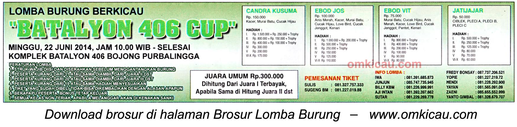 Brosur Lomba Burung Berkicau Batalyon 406 Cup, Purbalingga, 22 Juni 2014