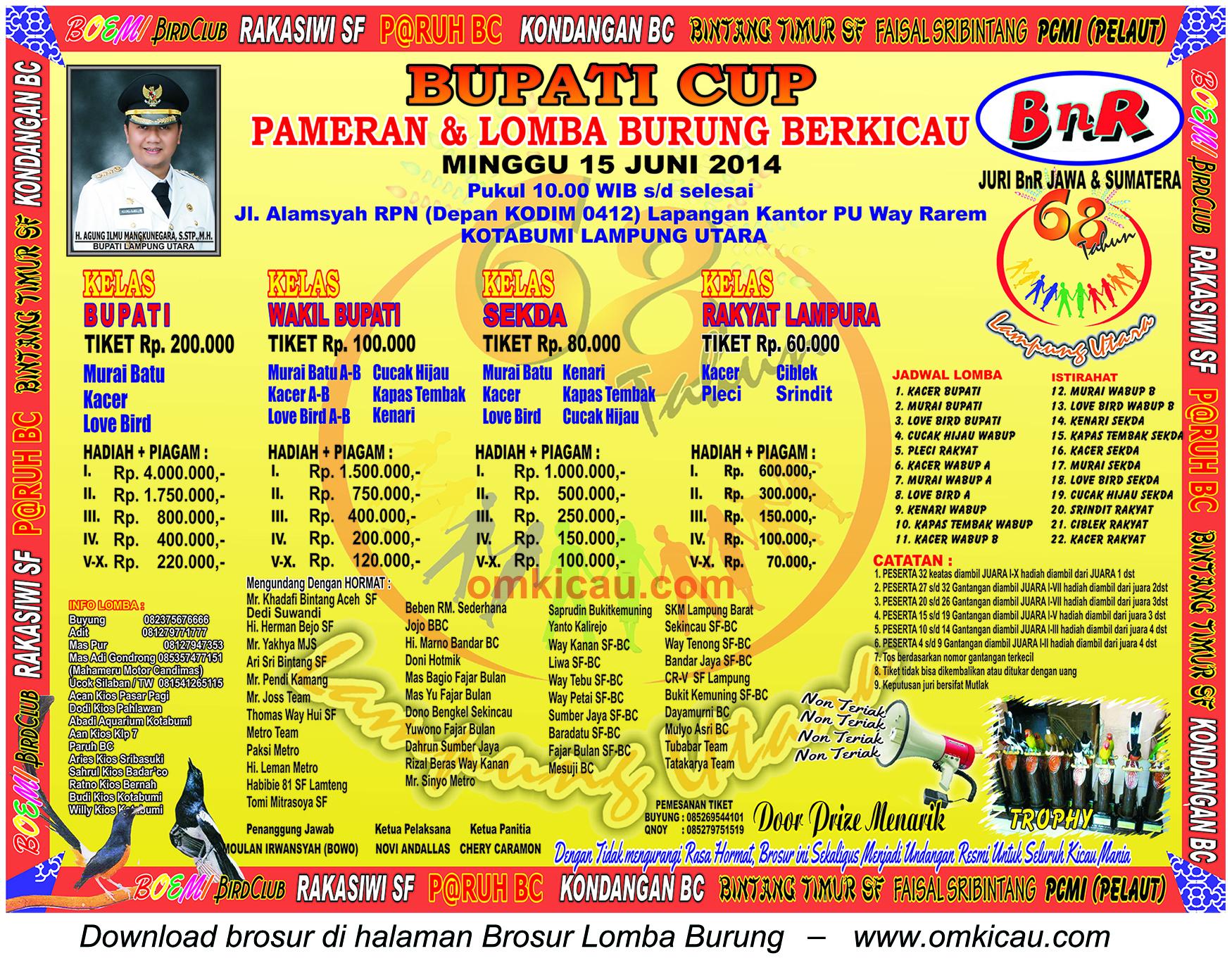 Brosur Lomba Burung Berkicau Bupati Cup, Lampung Utara, 15 Juni 2014