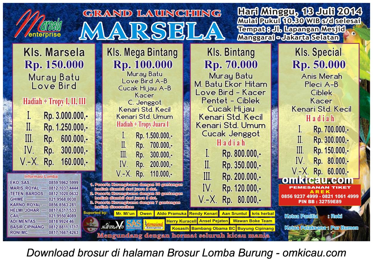 Brosur Lomba Burung Berkicau Grand Launching Marsela, Jakarta Selatan, 13 Juli 2014