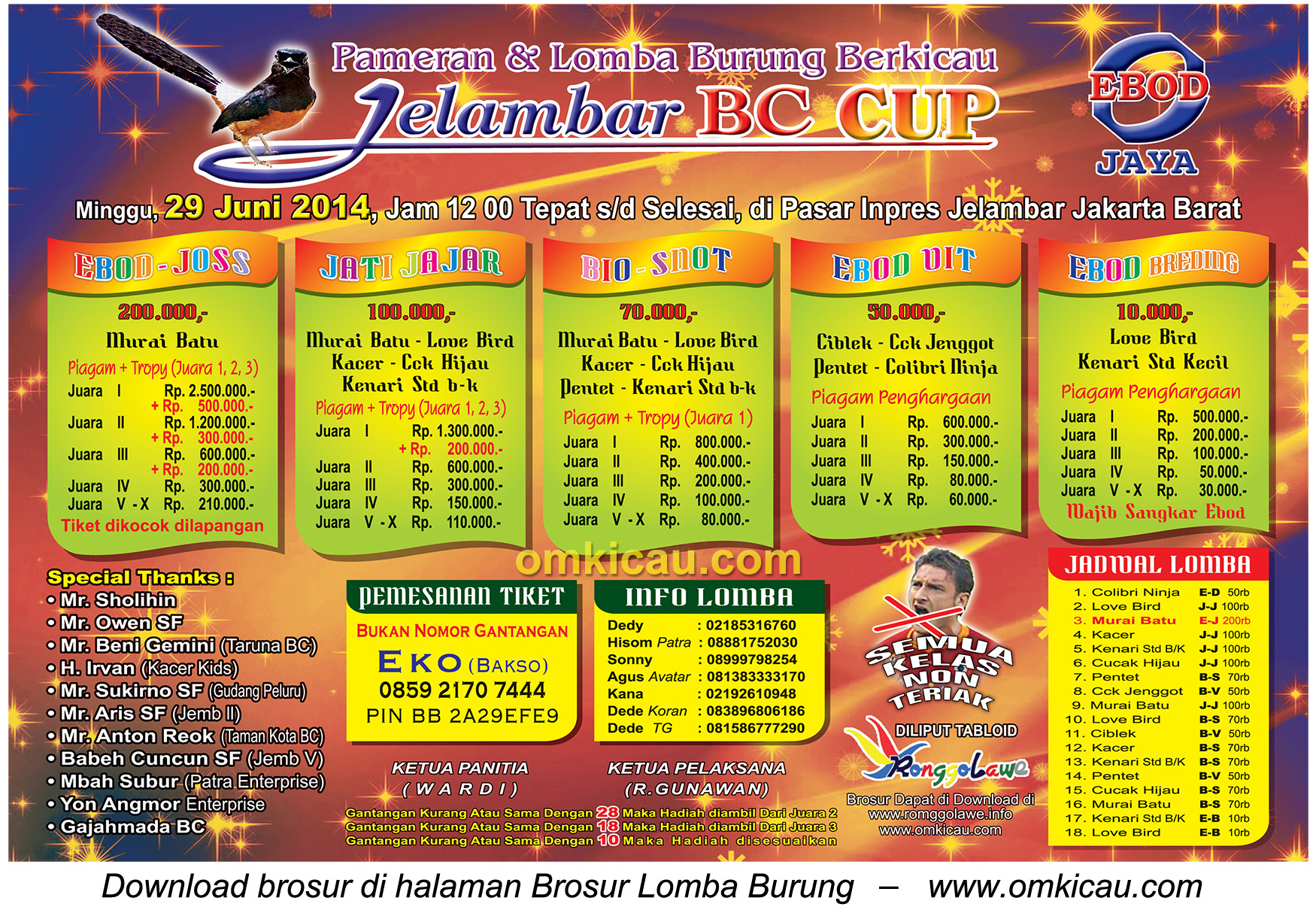 Brosur Lomba Burung Berkicau Jelambar BC Jakarta Barat 29 Juni 2014