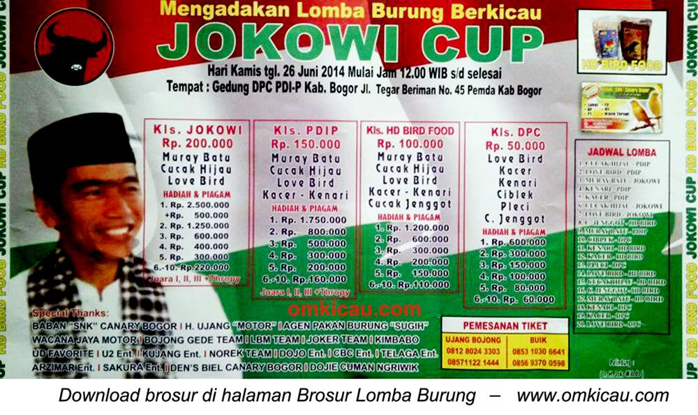 Brosur Lomba Burung Berkicau Jokowi Cup, Bogor, 26 Juni 2014