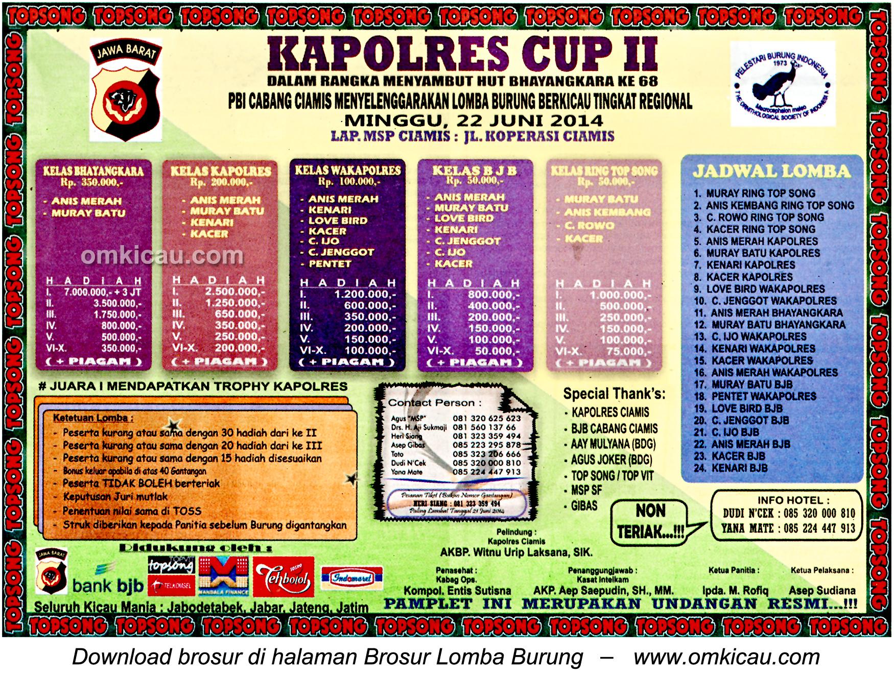 Brosur Lomba Burung Berkicau Kapolres Cup II, Ciamis, 22 Juni 2014