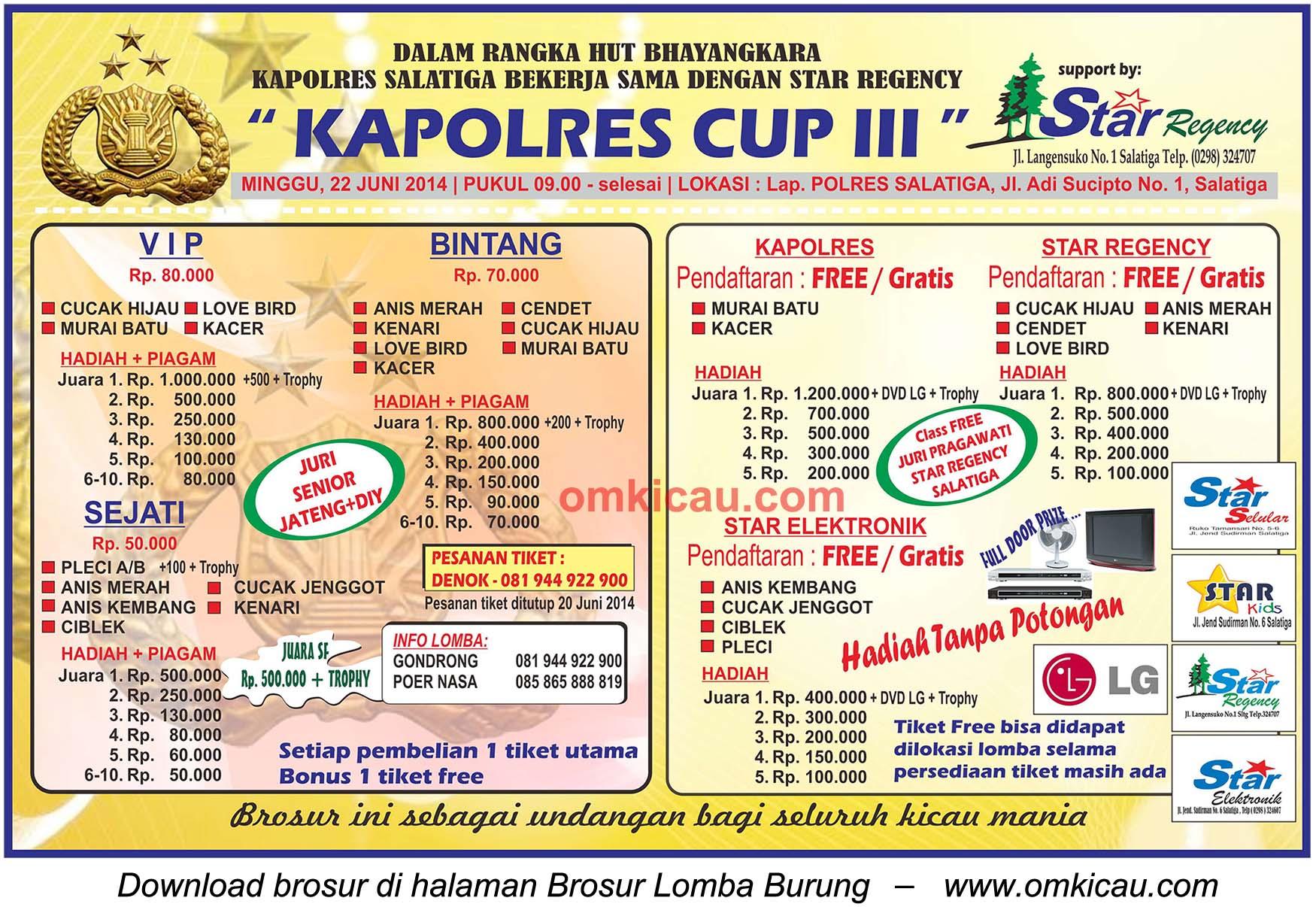 Brosur Lomba Burung Berkicau Kapolres Cup III, Salatiga, 22 Juni 2014