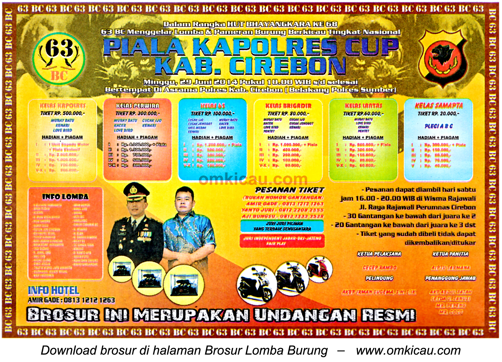 Brosur Lomba Burung Berkicau Kapolres Cup, Kabupaten Cirebon, 29 Juni 2014