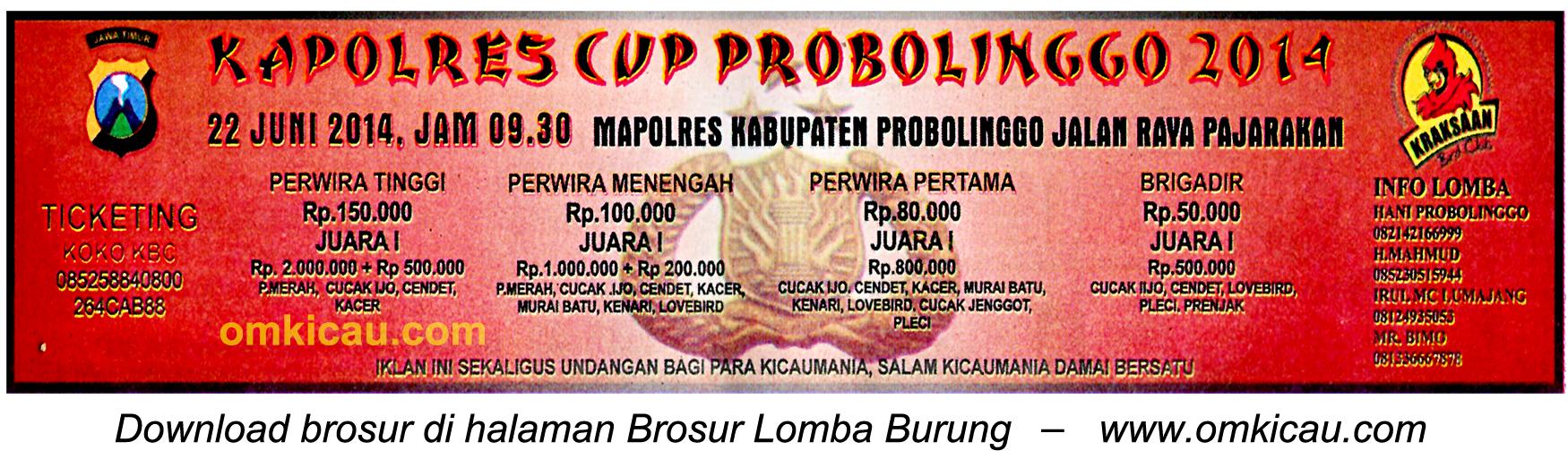 Brosur Lomba Burung Berkicau Kapolres Cup Probolonggo, 22 Juni 2014