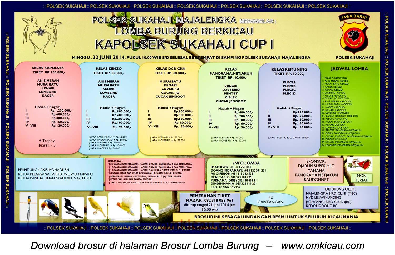 Brosur Lomba Burung Berkicau Kapolsek Sukahaji Cup I, Majalengka, 22 Juni 2014