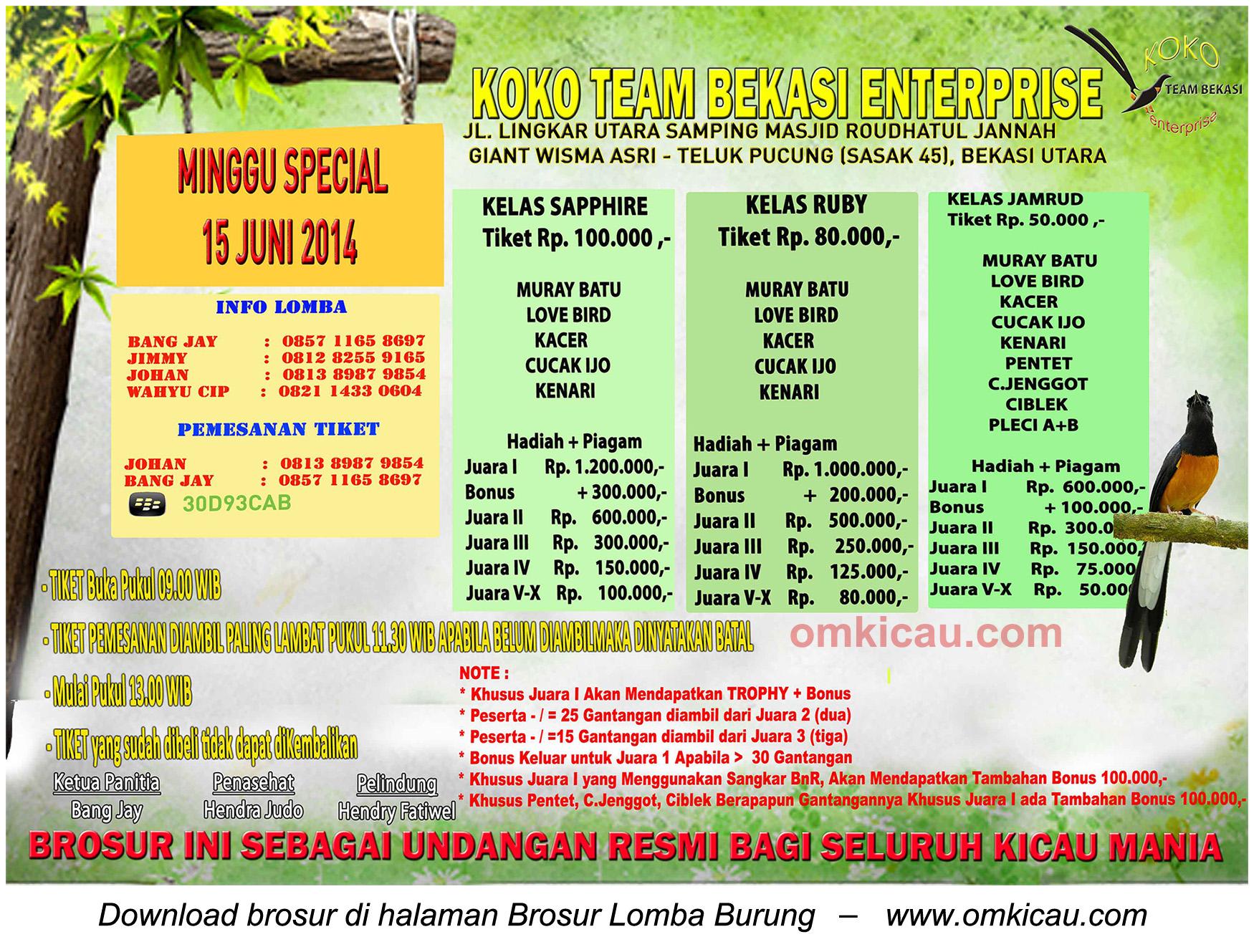 Brosur Lomba Burung Berkicau Koko Team Enterprise, Bekasi, 15 Juni 2014