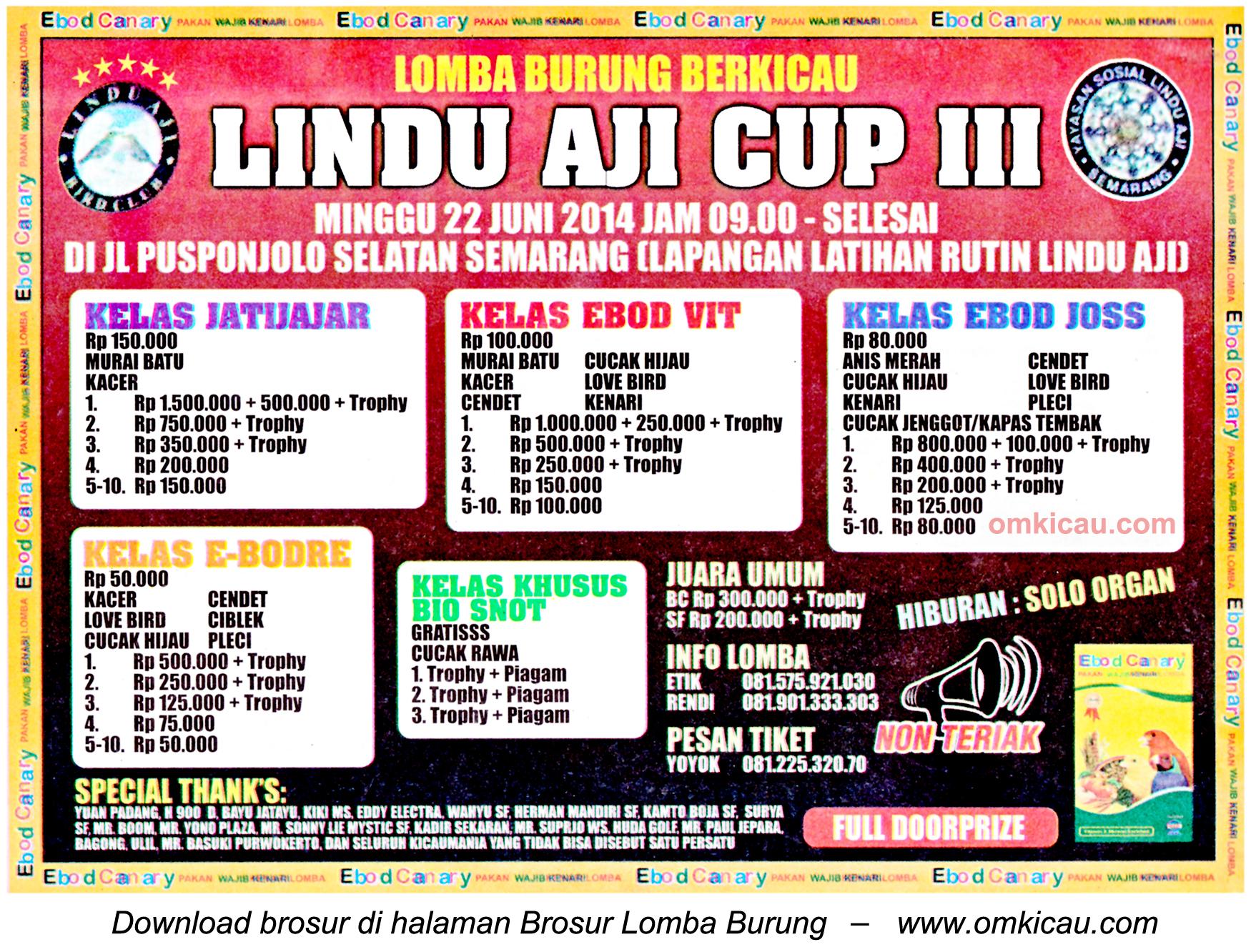 Brosur Lomba Burung Berkicau Lindu Aji Cup III, Semarang, 22 Juni 2014