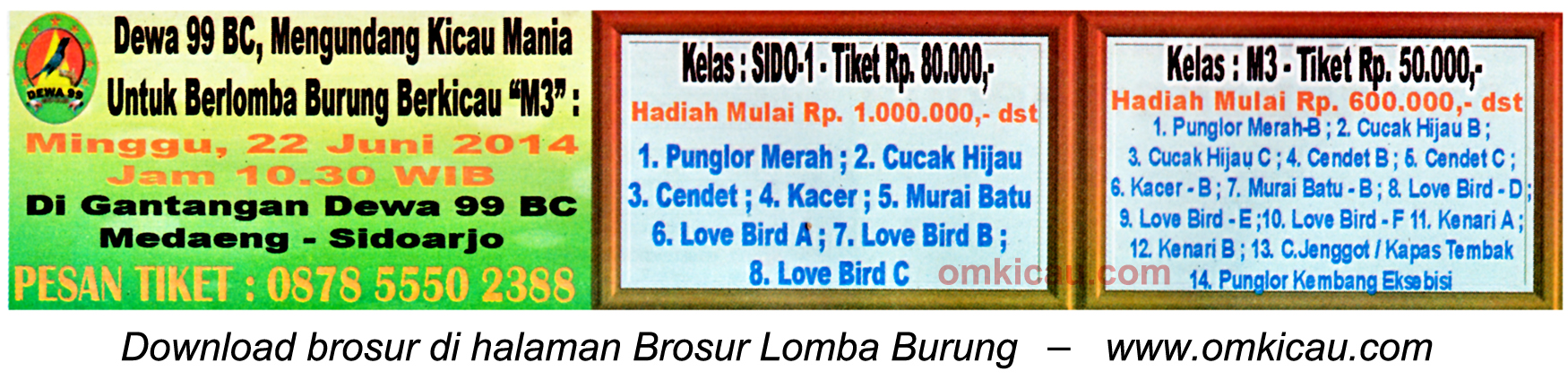 Brosur Lomba Burung Berkicau M3-Dewa 99 BC, Sidoarjo, 22 Juni 2014