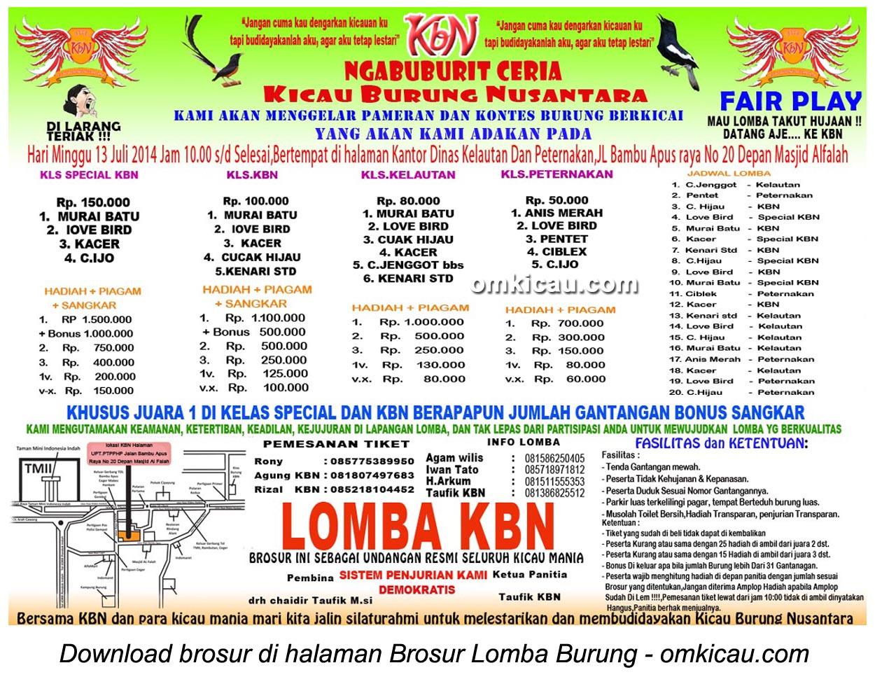 Brosur Lomba Burung Berkicau Ngabuburit Ceria KBN, Jakarta Timur, 13 Juli 2014