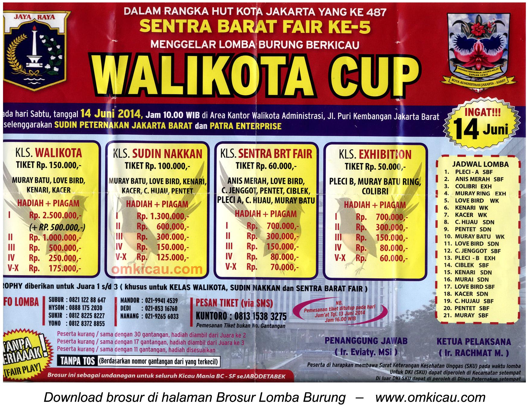 Brosur Lomba Burung Berkicau Wali Kota Cup Jakarta Barat, 14 Juni 2014