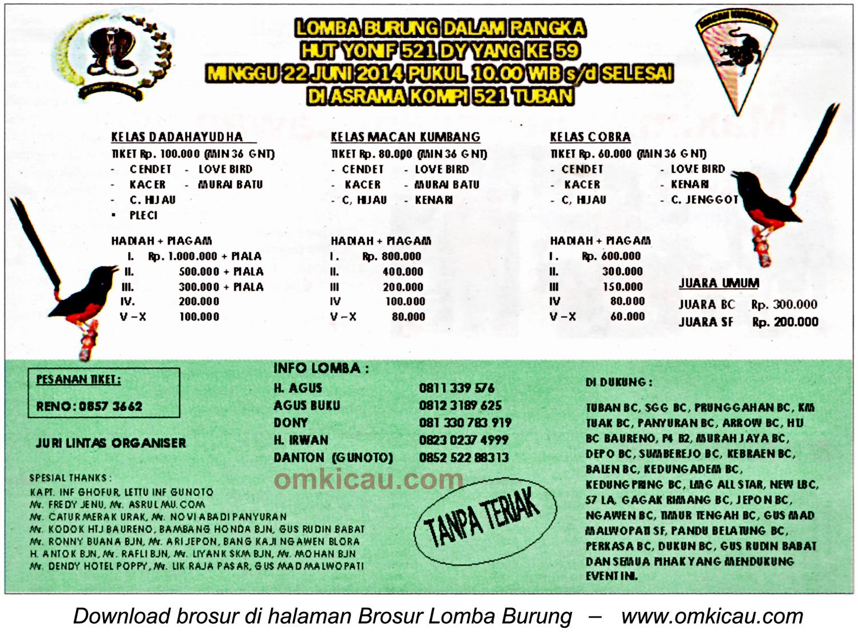 Brosur Lomba Burung HUT Ke-59 Yonif 521 - DY, Tuban, 22 Juni 2014
