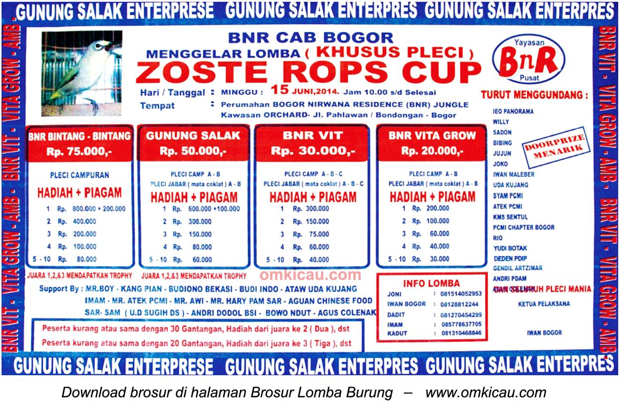 Brosur Lomba Burung Khsusu Pleci Zoste Rops Cup, Bogor, 15 Juni 2014