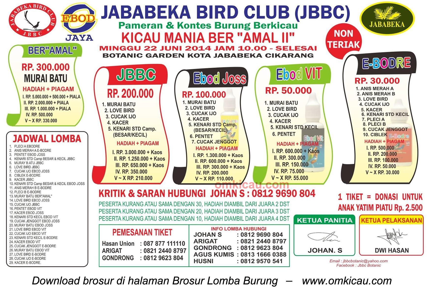 Brosur Lomba Burung Kicau Mania Ber-Amal II, Bekasi, 22 Juni 2014