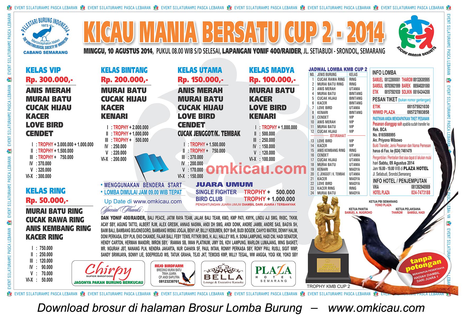 Brosur Lomba Burung Kicau Mania Bersatu Cup 2, Semarang, 10 Agustus 2014