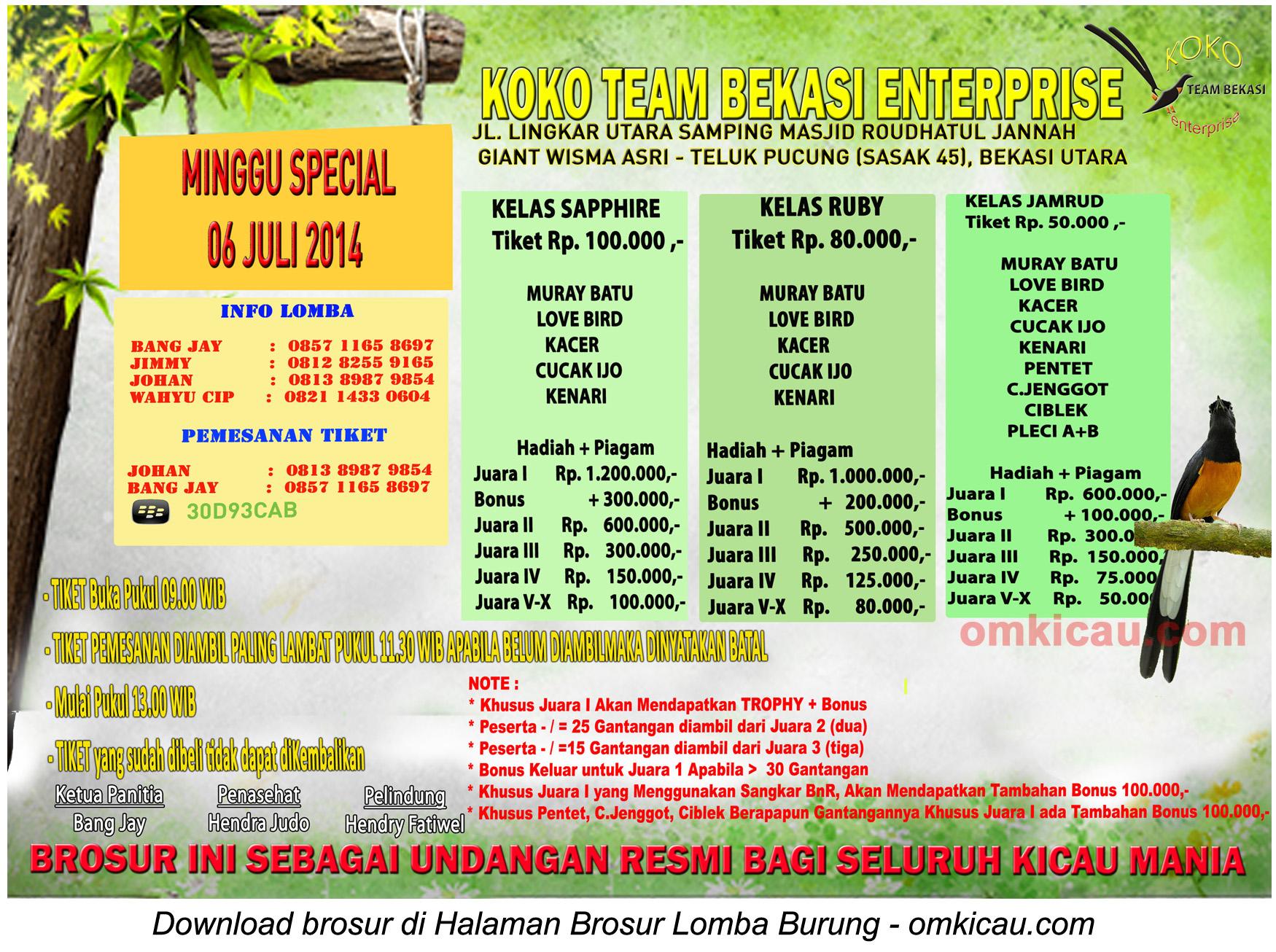Brosur Lomba Burung Koko Team Enterprise, Bekasi, 6 Juli 2014