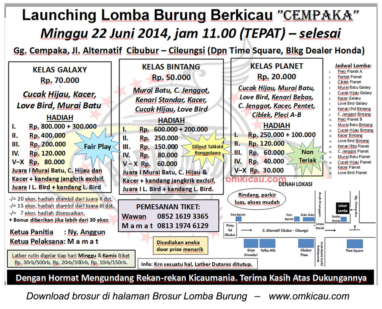 Brosur Lomba Burung Launching Cempaka, Bogor, 22 Juni 2014