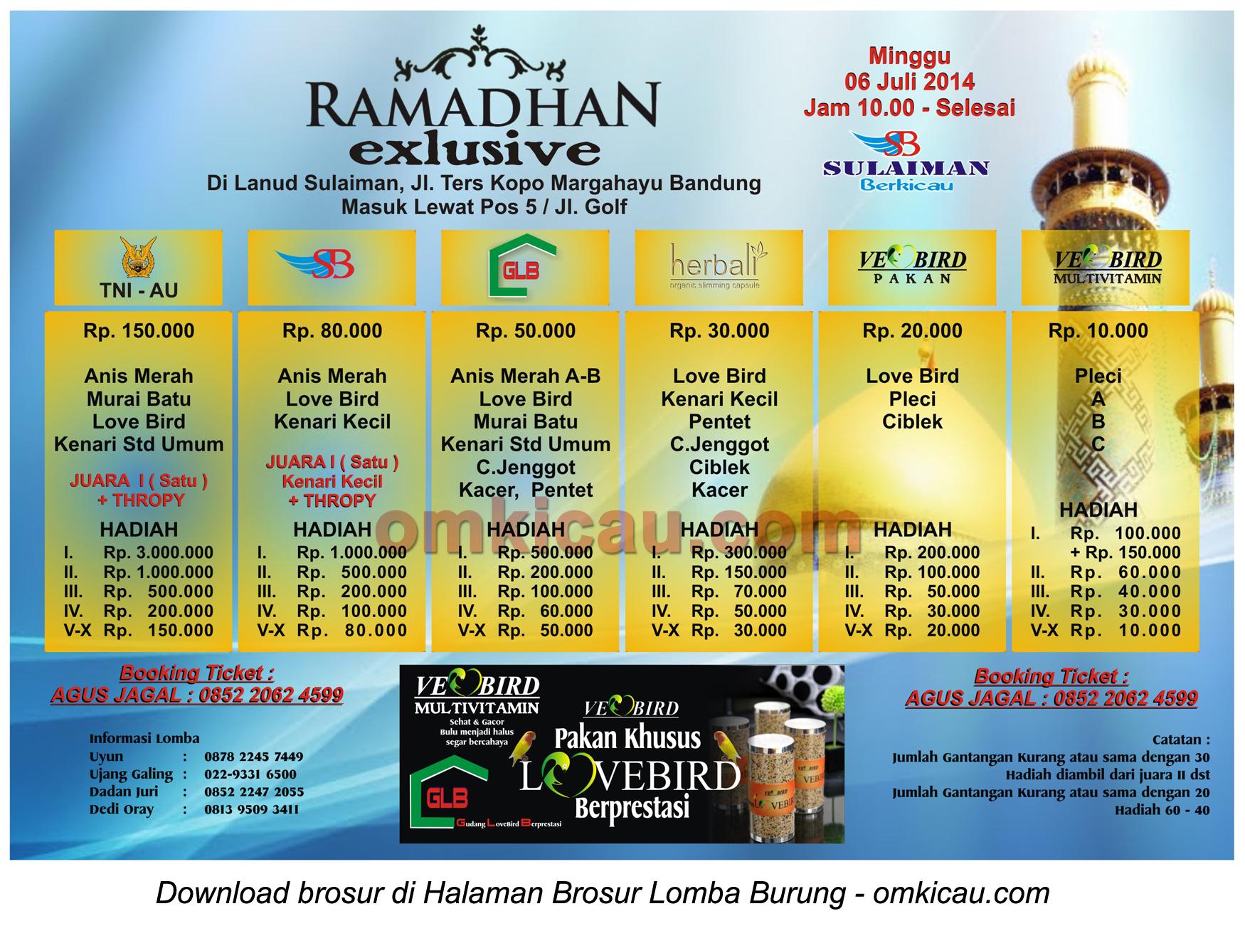 Brosur Lomba Burung Ramadhan Exclusive - Sulaiman Berkicau, Bandung, 6 Juli 2014