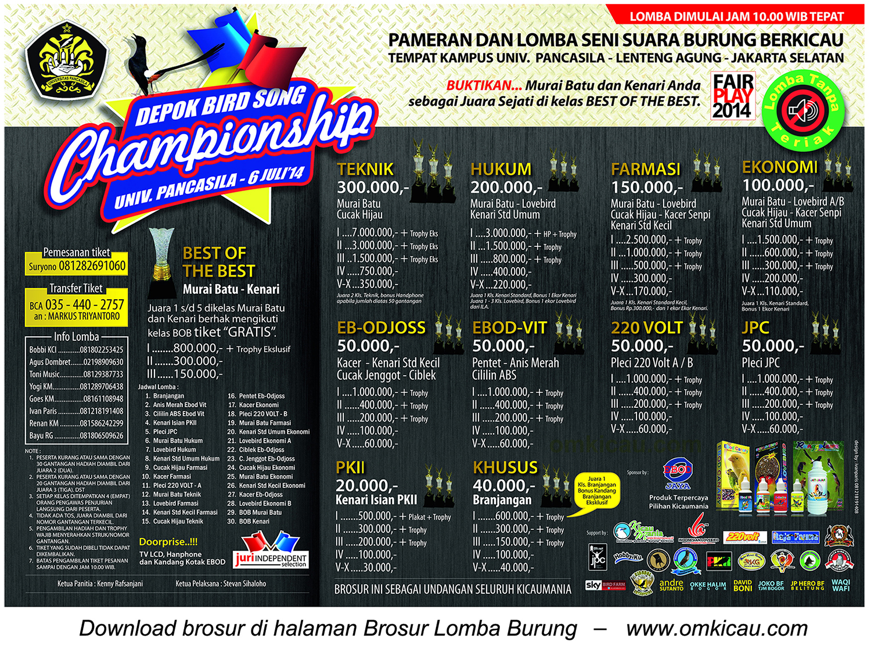 Brosur Lomba Depok Bird Song Championship, Jakarta Selatan, 6 Juli 2014