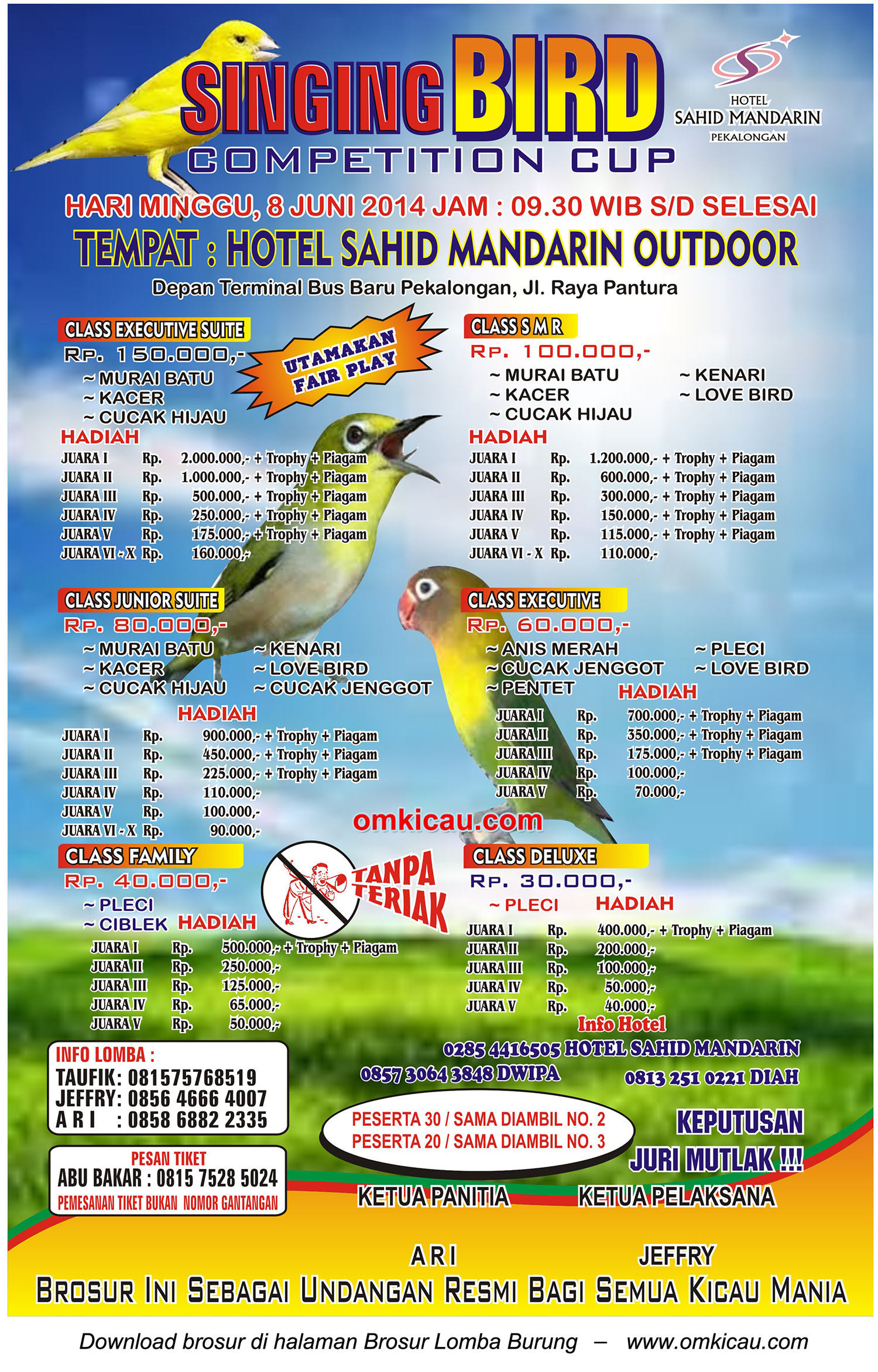 Brosur Singing Bird Competition Cup, Pekalongan, 8 Juni 2014