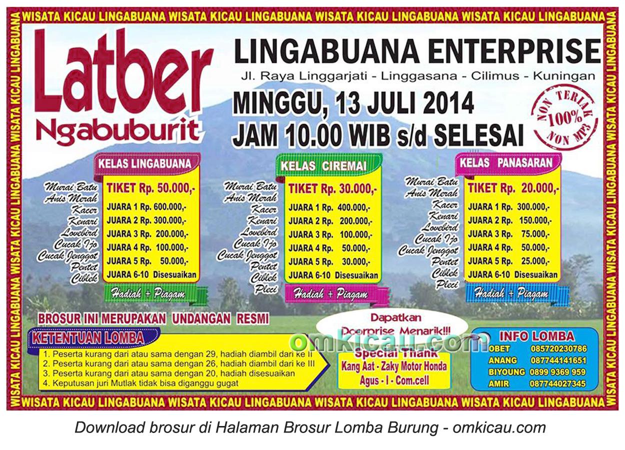 Brosur Latber Ngabuburit Linggabuana, Kuningan, 13 Juli 2014