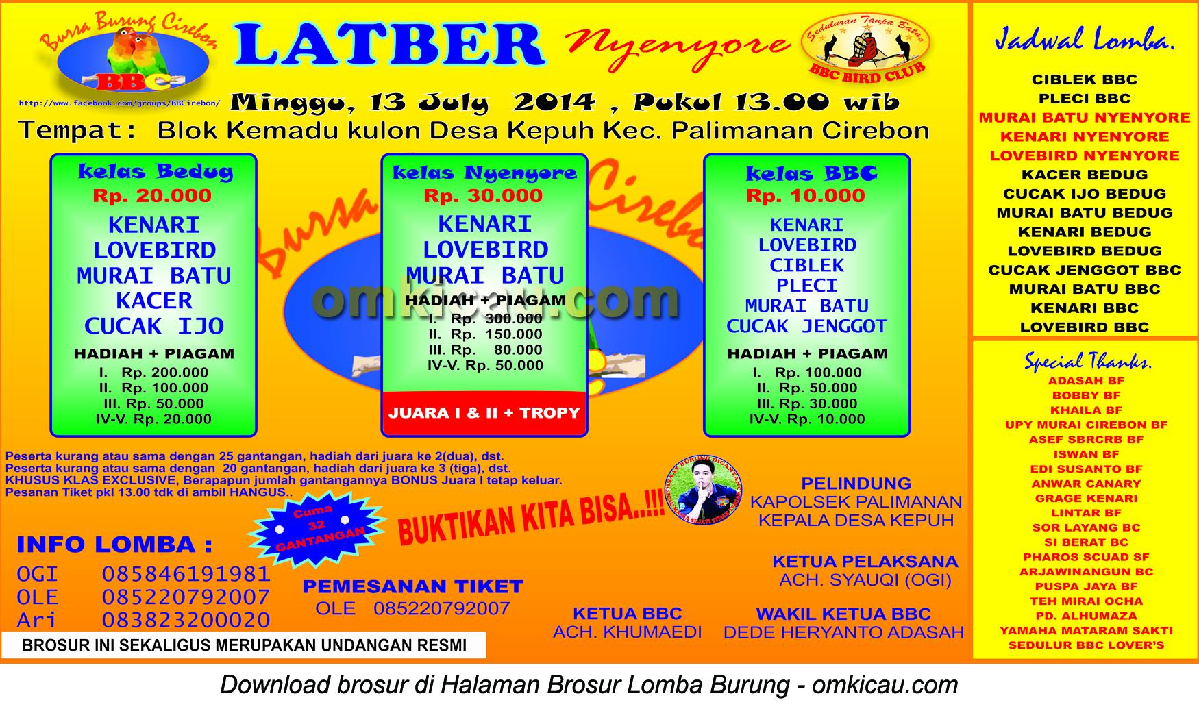 Brosur Latber Nyenyore BBC, Cirebon, 13 Juli 2014