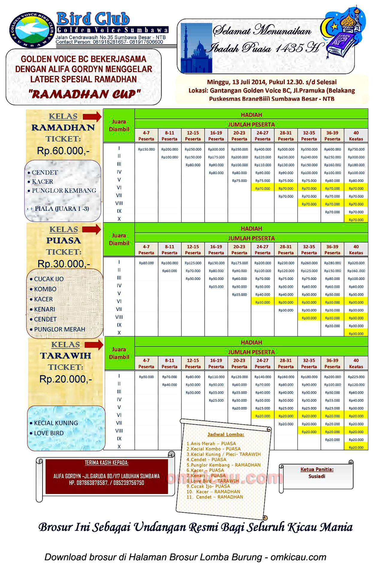 Ramadhan Cup - Golden Voice BC, Sumbawa Besar, 13 Juli 2014