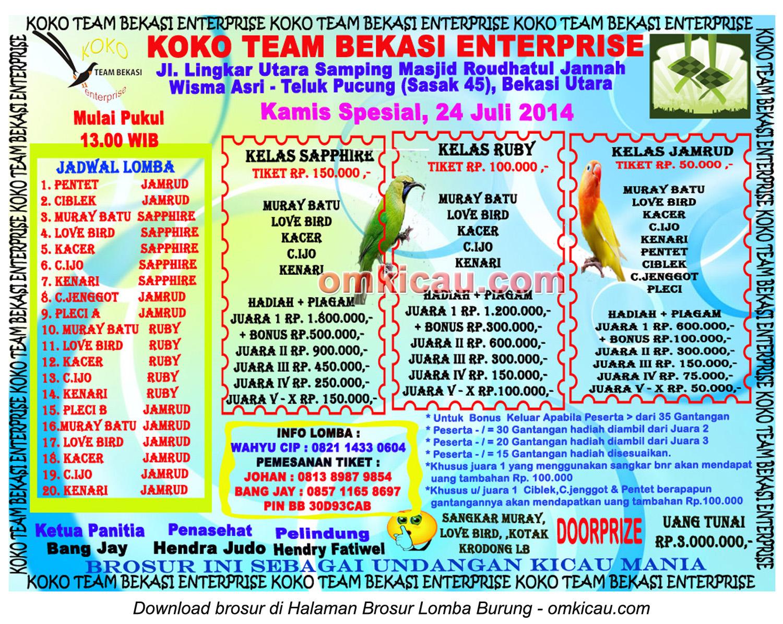 Brosur Latpres Burung Berkicau Koko Team, Bekasi, 24 Juli 2014