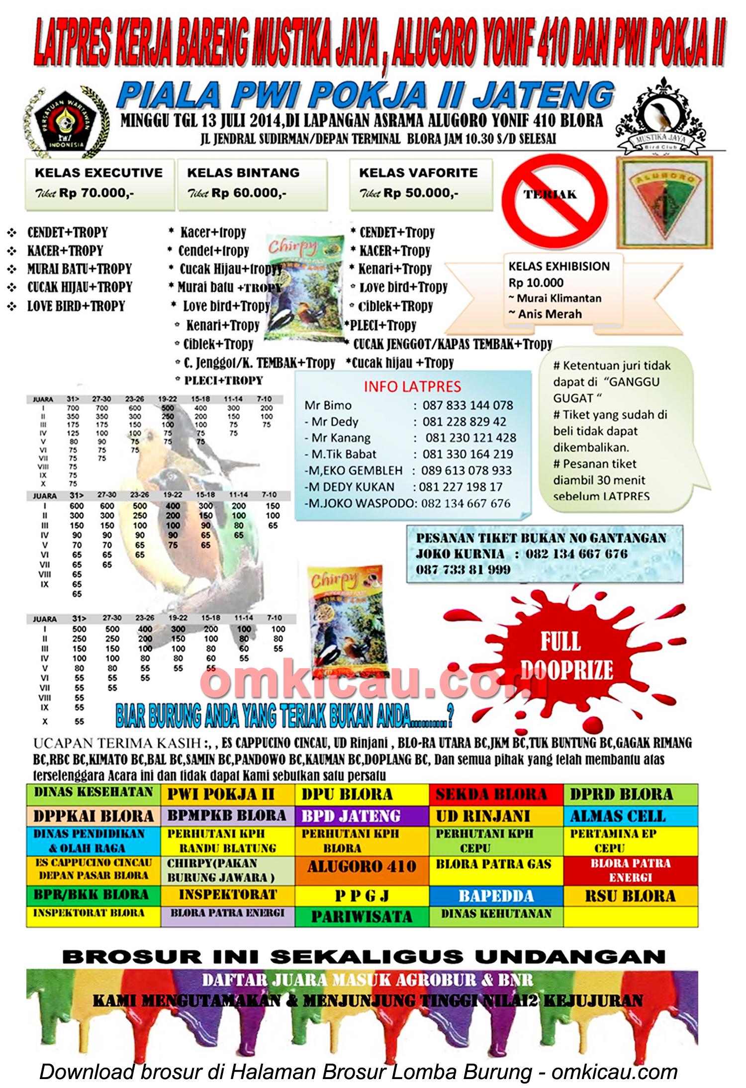 Brosur Latpres Burung Berkicau Piala PWI Pokja II Jateng, Blora, 13 Juli 2014