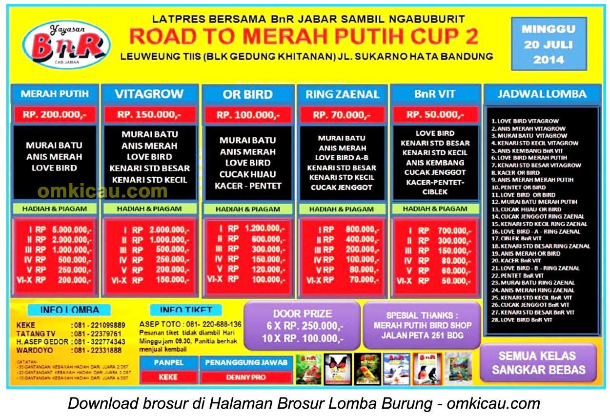 Brosur Latpres Burung Road To Merah Putih Cup 2, Bandung, 20 Juli 2014