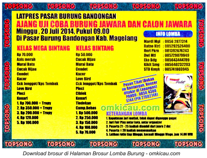 Brosur Latpres Pasar Burung Bandongan, Magelang, 20 Juli 2014