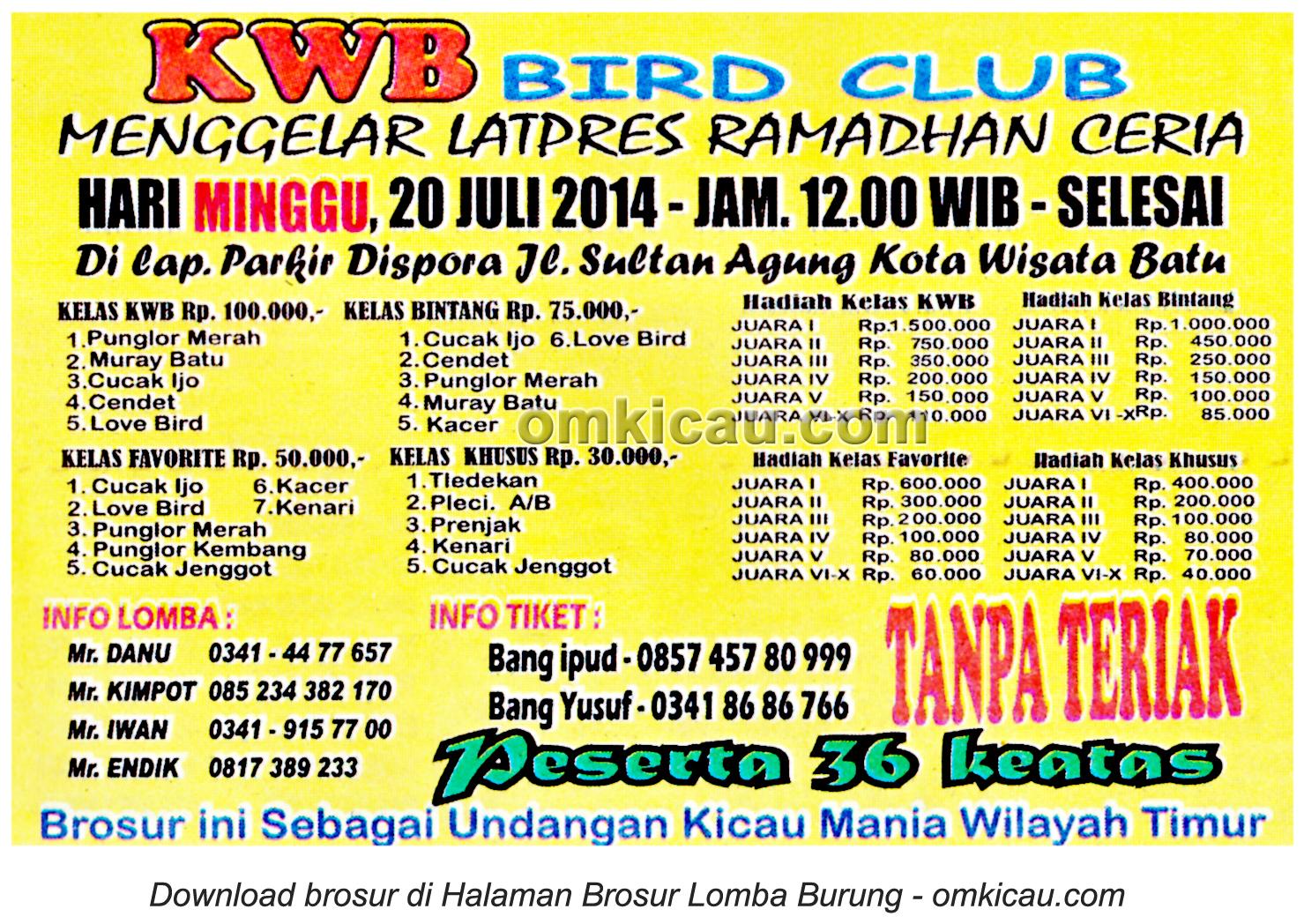 Brosur Latpres Ramadhan Ceria KWB BC, Batu, 20 Juli 2014