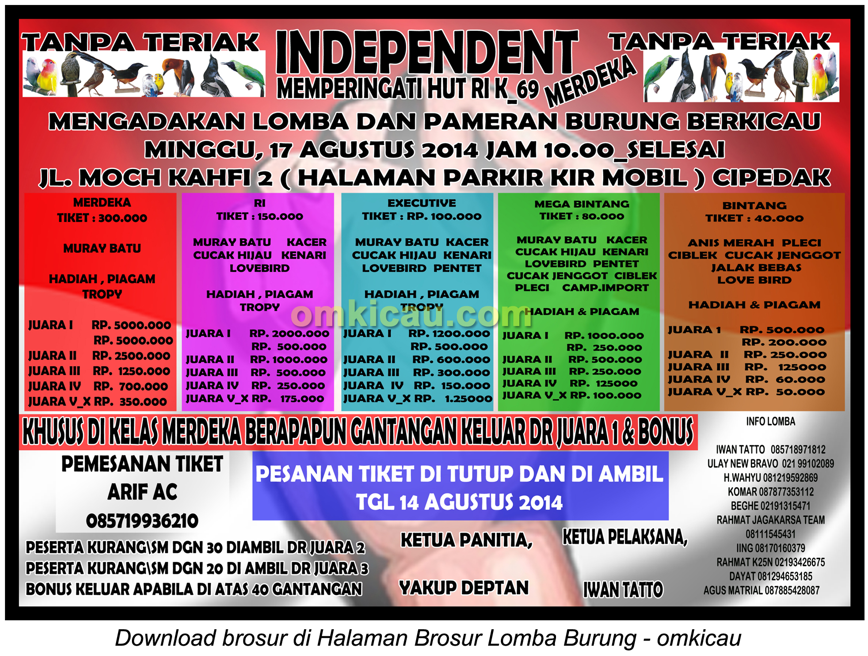 Brosur Lomba Burung 69Th Kemerdekaan RI - Independent Ent, Jakarta Selatan, 17 Agustus 2014