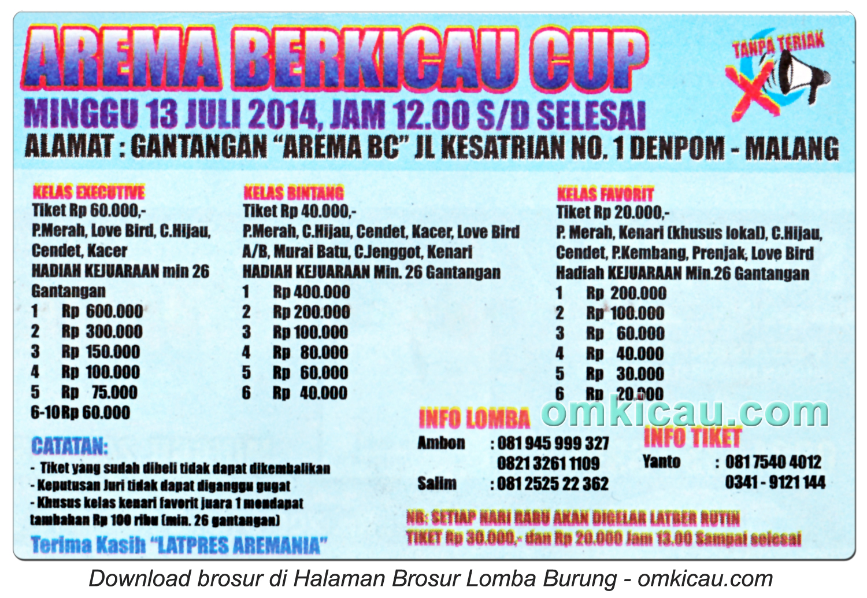 Brosur Lomba Burung Arema Berkicau Cup, Malang, 13 Juli 2014