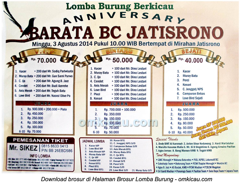 Brosur Lomba Burung Berkicau Anniversary Barata BC Jatisrono, Wonogiri, 3 Agustus 2014
