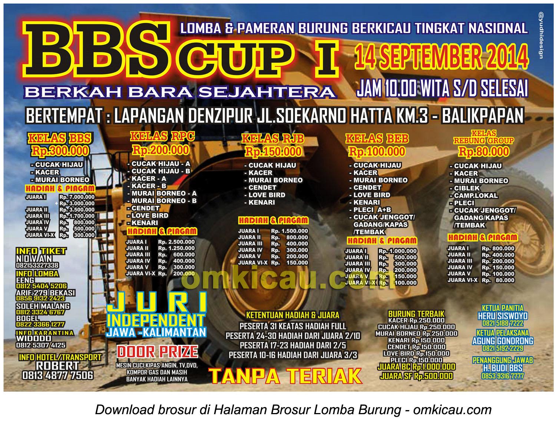Brosur Lomba Burung Berkicau BBS Cup I, Balikpapan, 14 September 2014