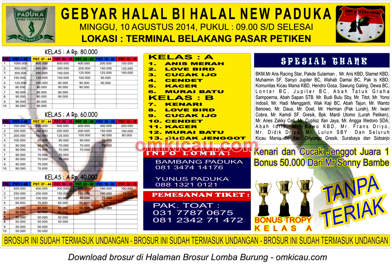 Brosur Lomba Burung Berkicau Gebyar Halal Bi Halal New Paduka, Gresik, 10 Agustus 2014