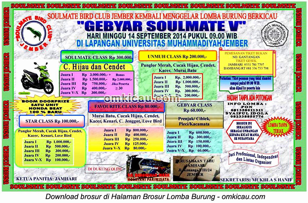 Brosur Lomba Burung Berkicau Gebyar Soulmate V, Jember, 14 September 2014