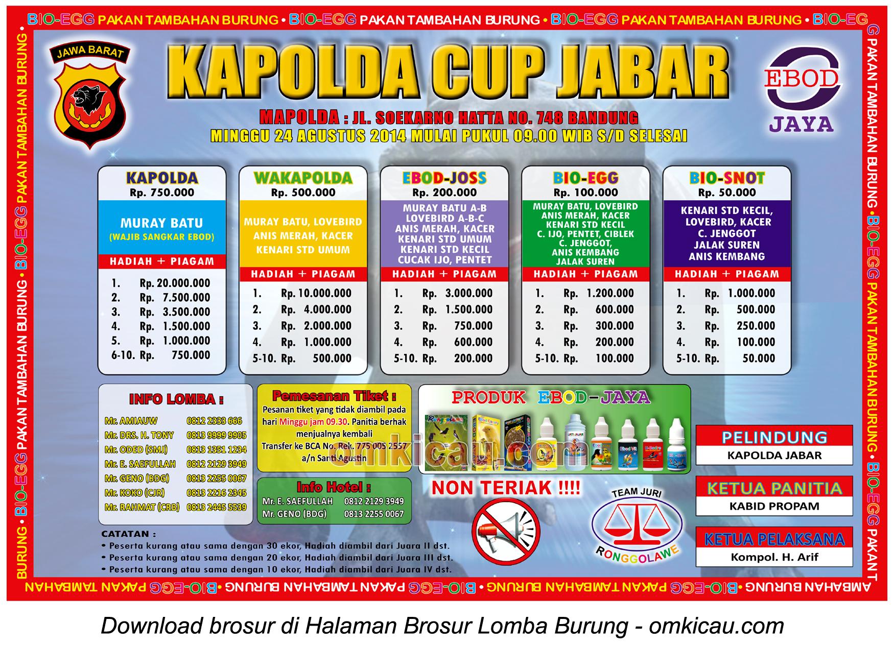 Lomba Burung Kapolda Cup Jabar, Bandung, 24 Agustus 2014