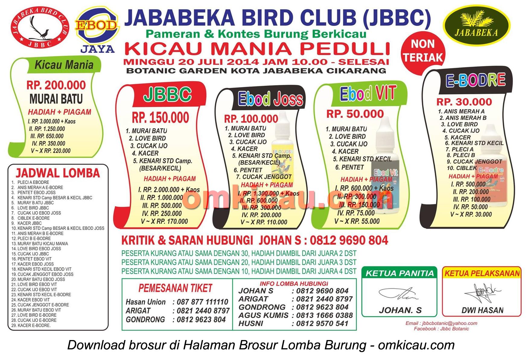 Brosur Lomba Burung Berkicau Kicaumania Peduli - Jababeka BC, Bekasi, 20 Juli 2014
