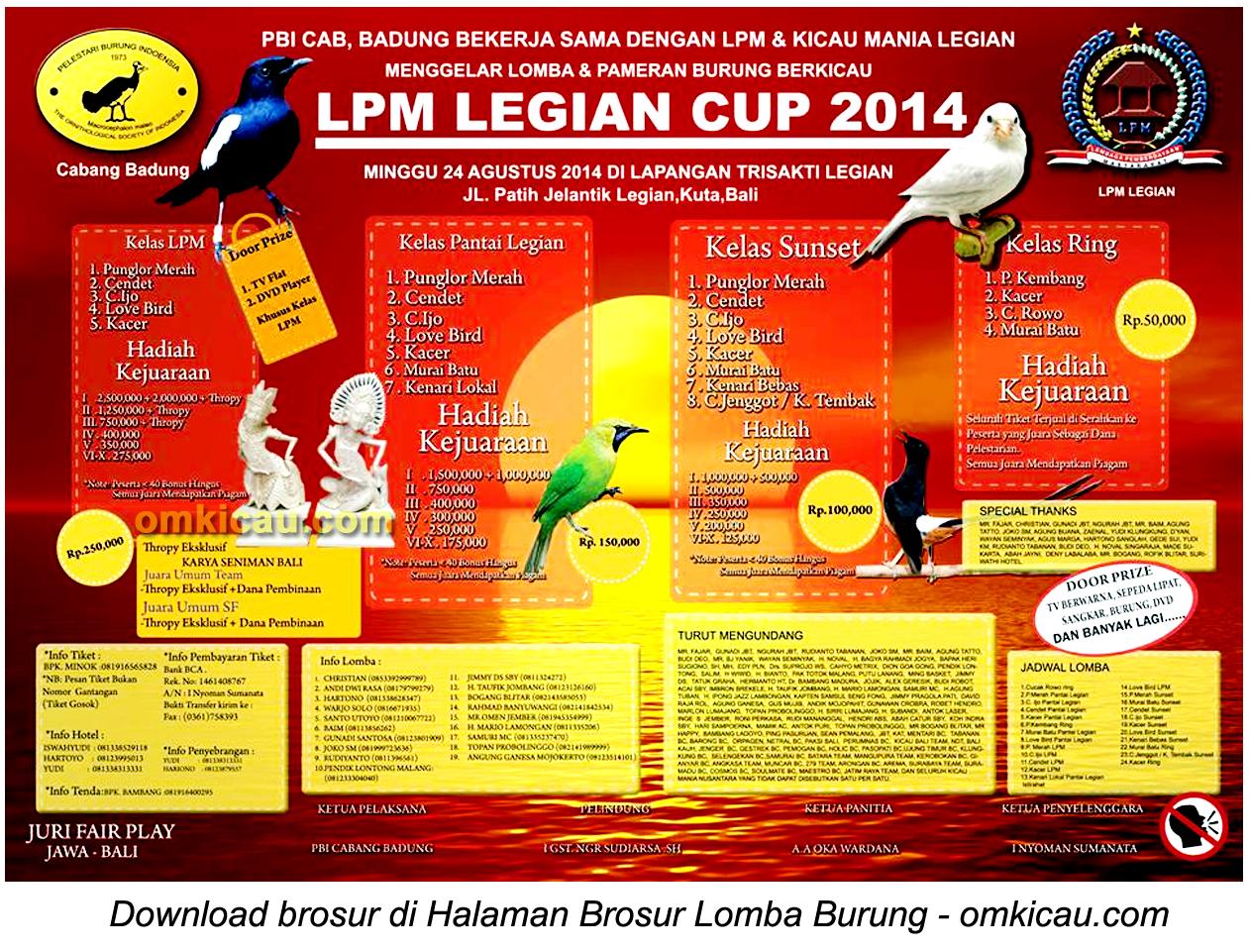 Brosur Lomba Burung Berkicau LPM Legian Cup, Kuta, 24 Agustus 2014