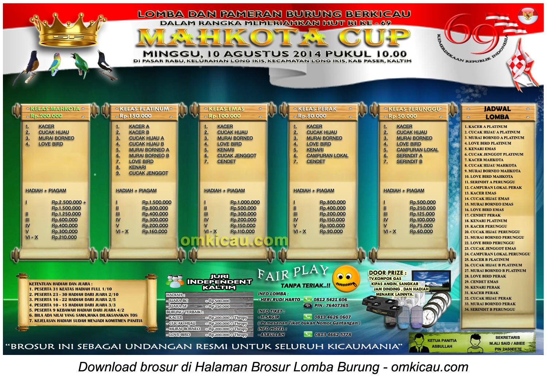 Brosur Lomba Burung Berkicau Mahkota Cup, Kab Paser-Kaltim, 10 Agustus 2014
