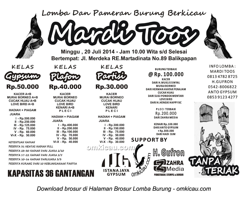 Brosur Lomba Burung Berkicau Mardi Toos, Balikpapan, 20 Juli 2014