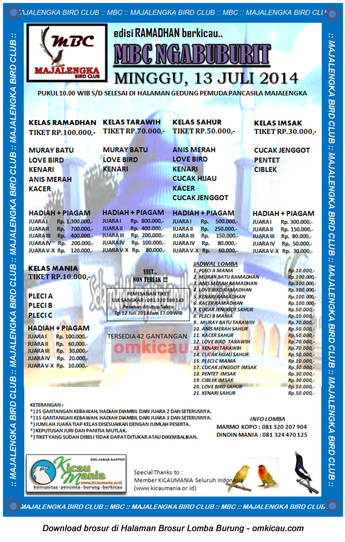 Brosur Lomba Burung Berkicau MBC Ngabuburit, Majalengka, 13 Juli 2014