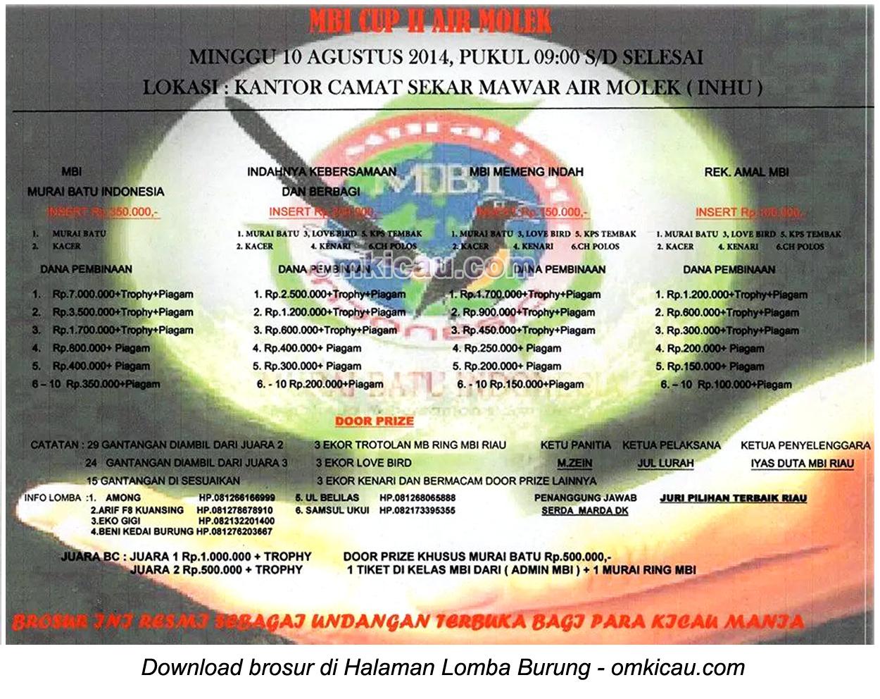 Brosur Lomba Burung Berkicau MBI Cup II, Indragiri Hulu, 10 Agustus 2014