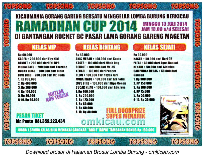 Brosur Lomba Burung Berkicau Ramadhan Cup, Magetan, 13 Juli 2014
