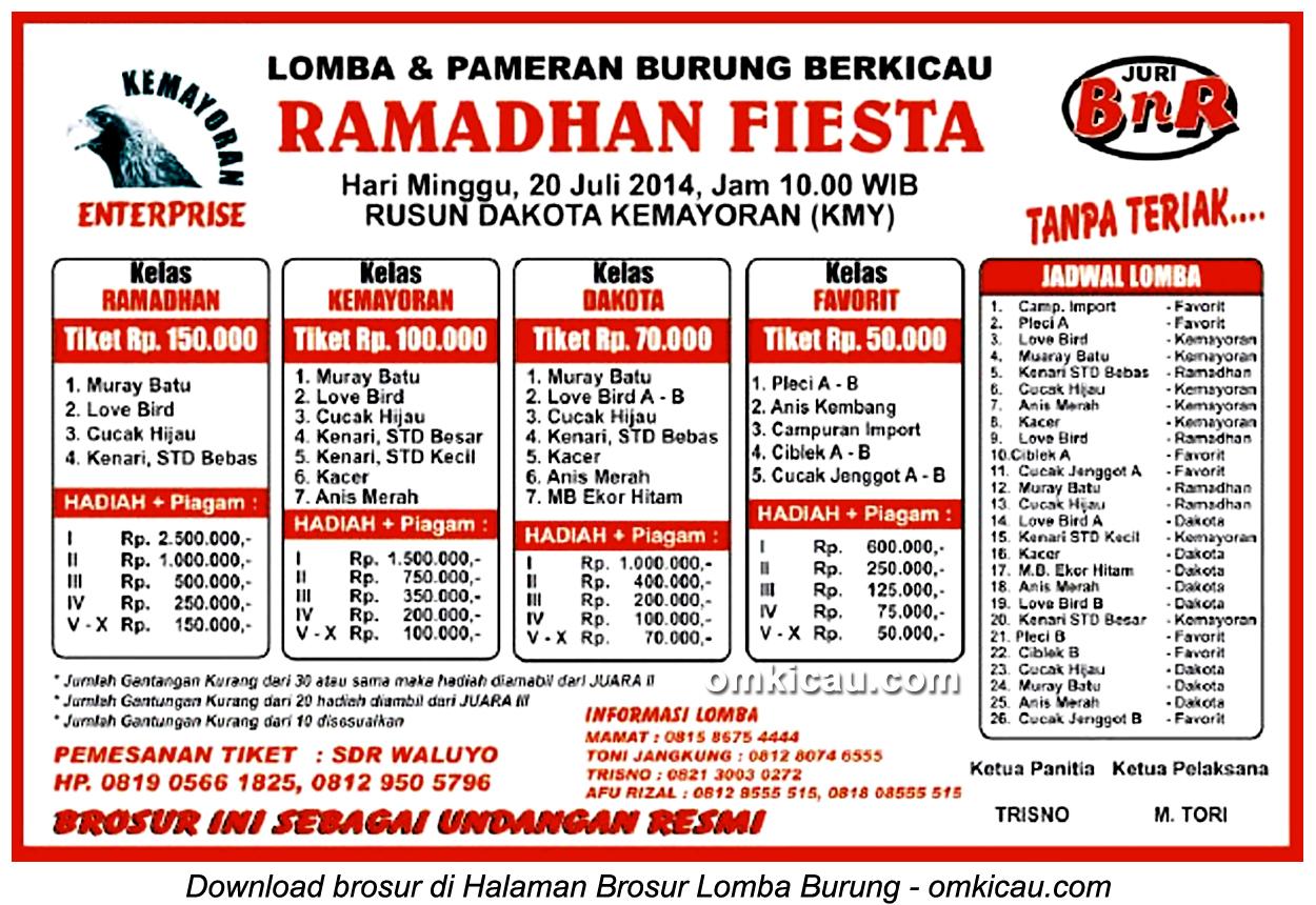 Brosur Lomba Burung Berkicau Ramadhan Fiesta, Jakarta, 20 Juli 2014
